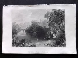 Bartlett Ireland 1842 Antique Print. Old Weir Bridge, Killarney